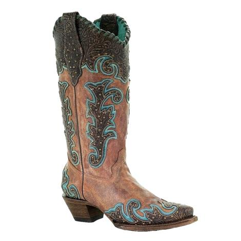 Corral Cognac Overlay Embroidered Women's Boots