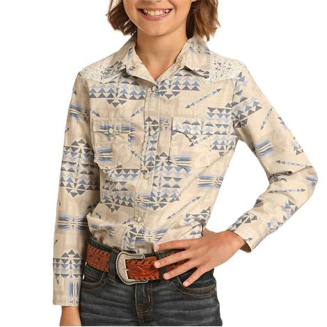 Rock and Roll Cowgirl Tan Blue Aztec Print Long Sleeve Snap Girl's Shirt