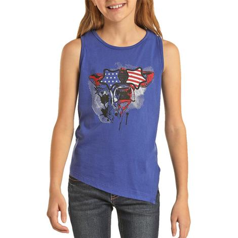 Rock and Roll Cowgirl Red Blue Cow Sunglasses Girl's Tank