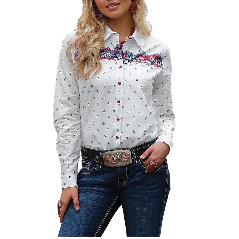Cruel Girl White Horseshoe Print Long Sleeve Snap Women's Shirt