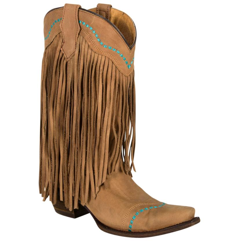 Corral Tan Turquoise Fringed Youth Boot