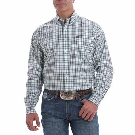 Cinch White Light Blue Plaid Long Sleeve Buttondown Men's Shirt