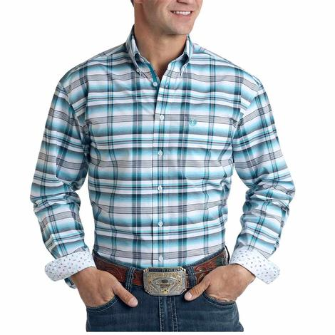 Panhandle Turquoise Grey Plaid Long Sleeve Buttondown Men's Shirt