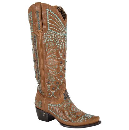 Lane by Kippys Victoria Spiked Brown and Turquoise Crystal Ladies Boot