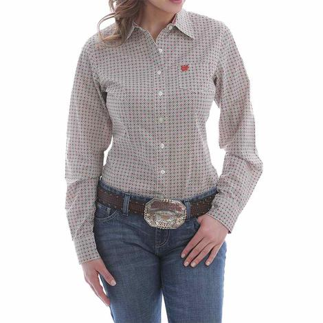 Cinch White Red Print Long Sleeve Buttondown Women's Shirt