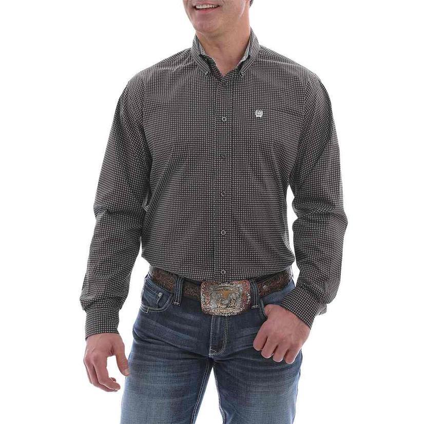 Cinch Brown White Print Stretch Long Sleeve Buttondown Men's Shirt