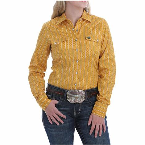 Cinch Gold Stripe Print Long Sleeve Snap Women's Shirt