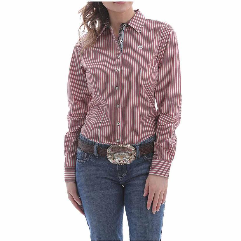 Cinch Red Stripe Long Sleeve Buttondown Women's Shirt