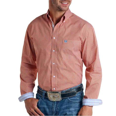 Panhandle Orange Print Long Sleeve Buttondown Men's Shirt