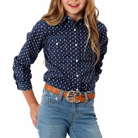 Roper Navy Blue Print Long Sleeve Snap Girl's Shirt