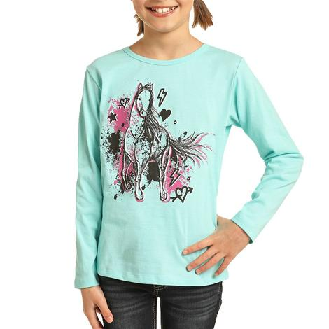 Rock and Roll Cowgirl Turquoise Horse Long Sleeve Girl's Tee