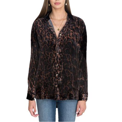 Johnny Was Leopard Floral Velvet Buttondown Women's Top