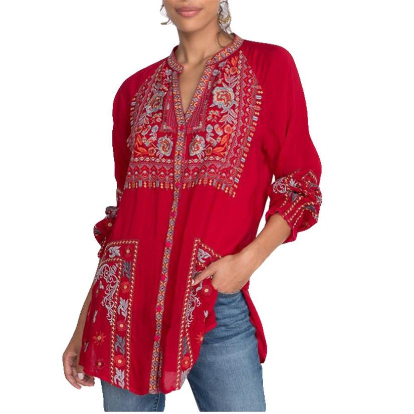 Johnny Was Cherry Tapestry Embroidered Women's Tunic