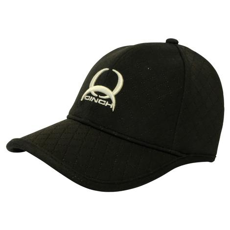 Cinch Embossed Stretchy Black Knit with Logo Cap