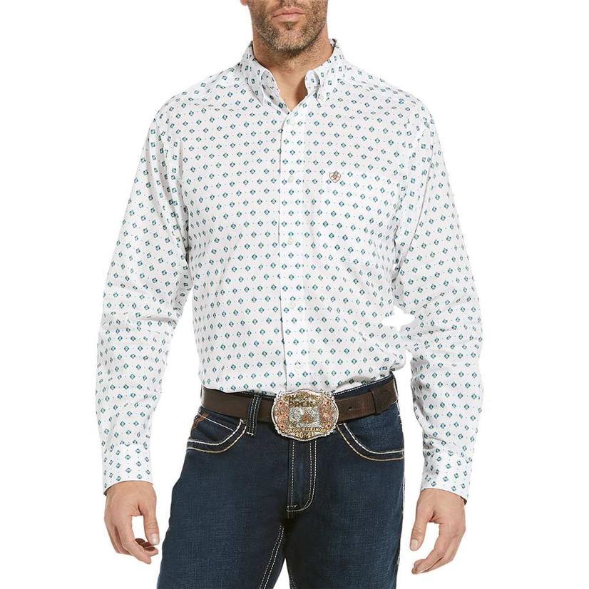 Ariat Ollie White Print Fitted Long Sleeve Buttondown Men's Shirt