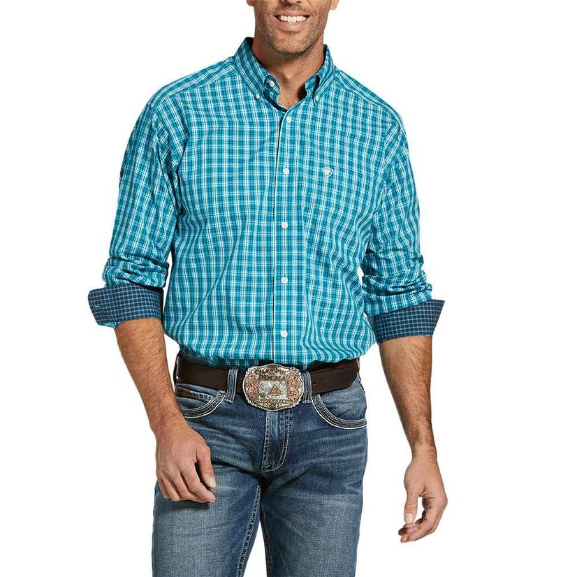 Ariat Wrinkle Free Lacewing Teal Plaid Long Sleeve Buttondown Men's Shirt