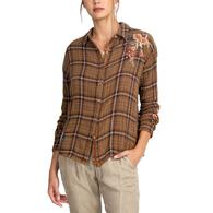 Johnny Was Marlie Brown Plaid Floral Boxy Shirt