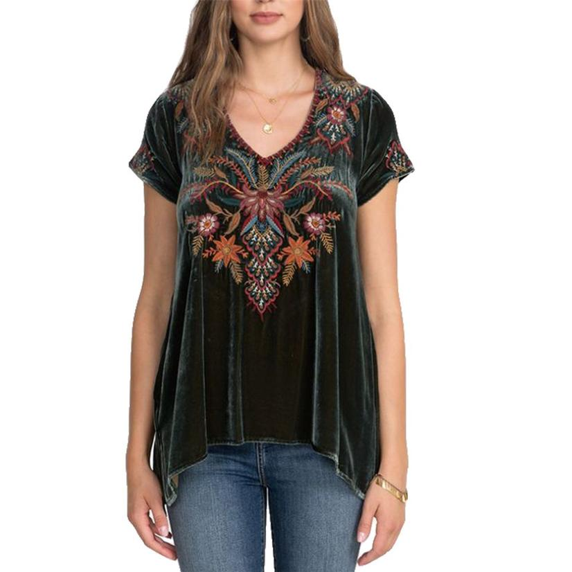 Johnny Was Avita Velvet Green Draped Top