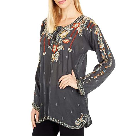 Johnny Was Gemma Blouse in Iron Steel Floral