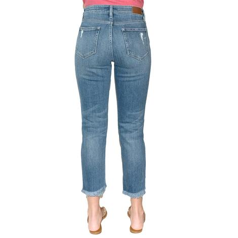 Hidden Jeans Crop Distressed Frayed Hem Mom Jeans