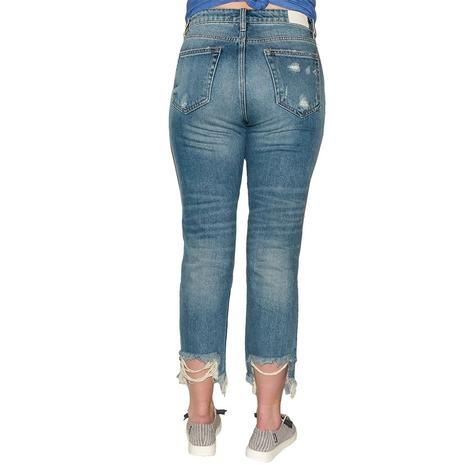 Hidden Jeans Medium Wash Distressed Mom Jeans- zoey