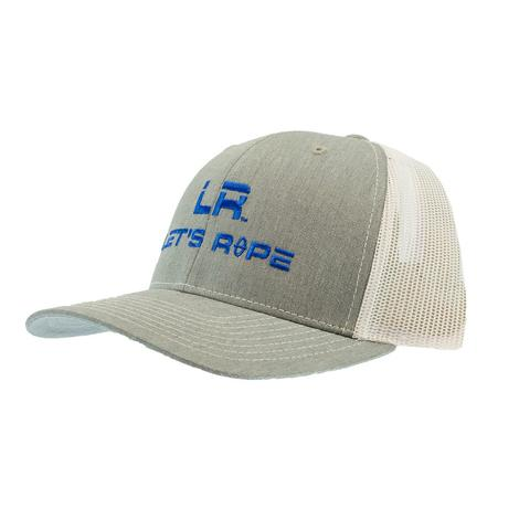 Let's Rope Grey with Blue Logo White Meshback Cap