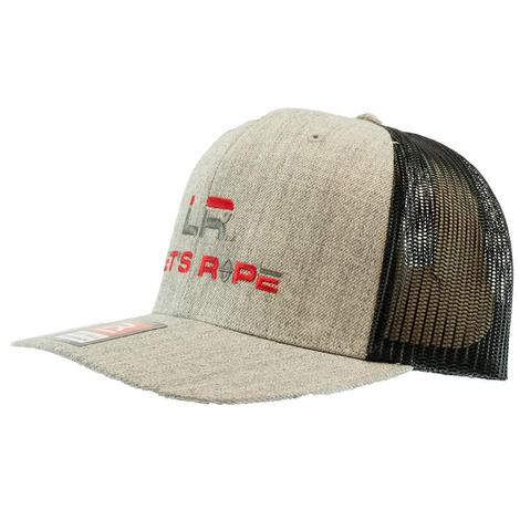 Let's Rope Flat Bill Black and Heather Grey Meshback Cap