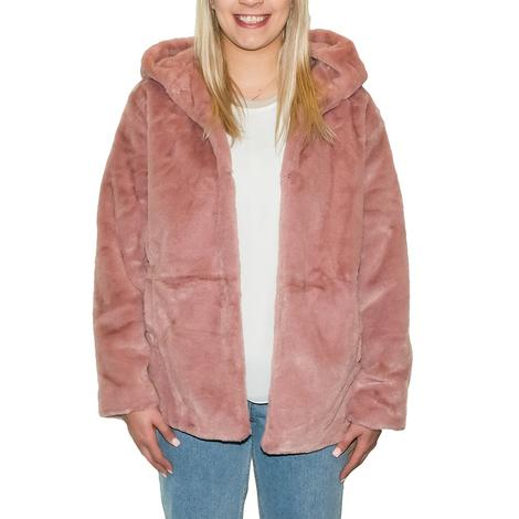 Pink Faux Fur Hooded Women's Jacket