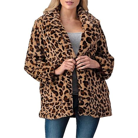 Women's Full Length Fur Leopard Jacket with Pockets