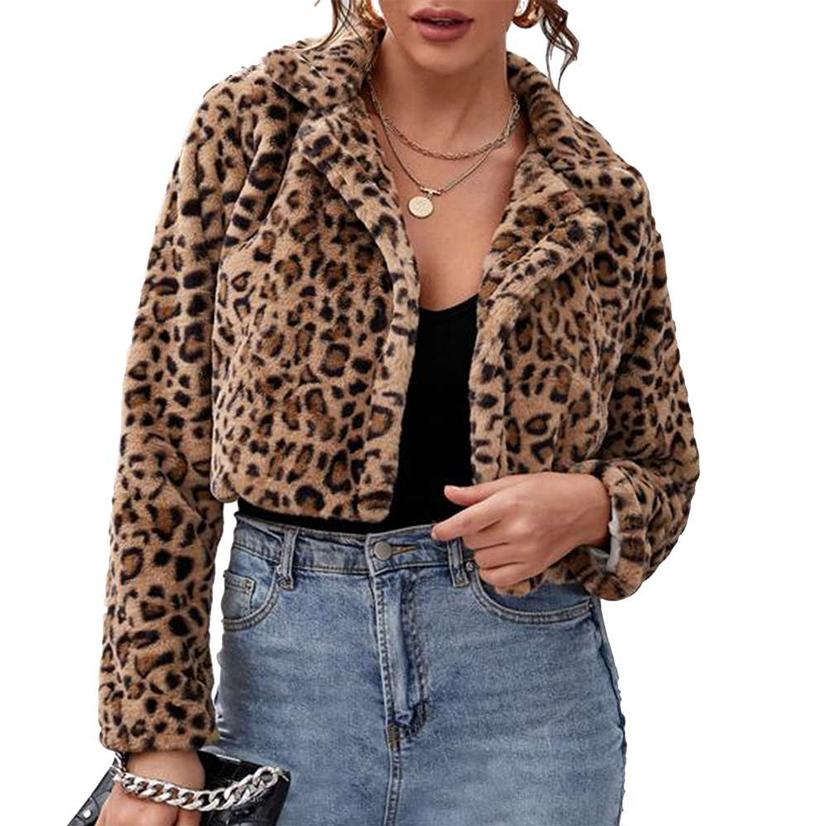 Leopard Print Fur Cropped Coat