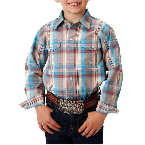 Roper Blue and Tan Plaid Long Sleeve Boy's Shirt