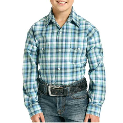 Panhandle Blue Green Plaid Long Sleeve Snap Boy's Shirt