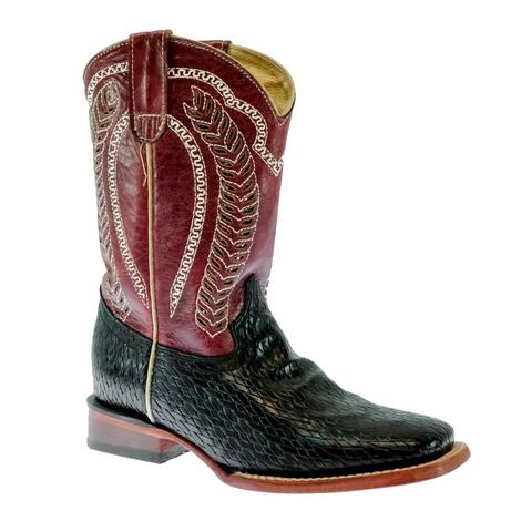 Ferrini Raider Black Basket Weave Red Top Kid Boots