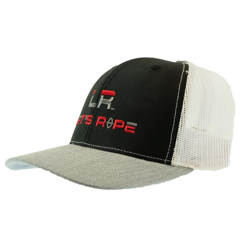 Let's Rope Black And Heather Grey With White Meshback Cap