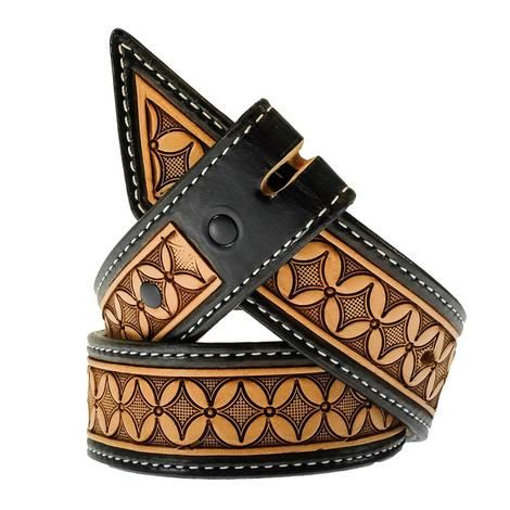 STT Cowboy Cut Black and Brown Tooled Kid's Belt