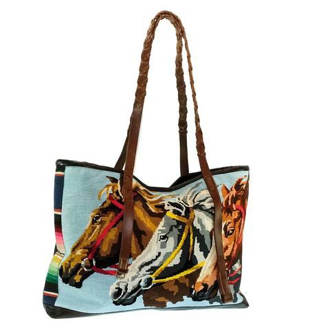 Black Leather Knitted Triple Horse Head Vintage Tote