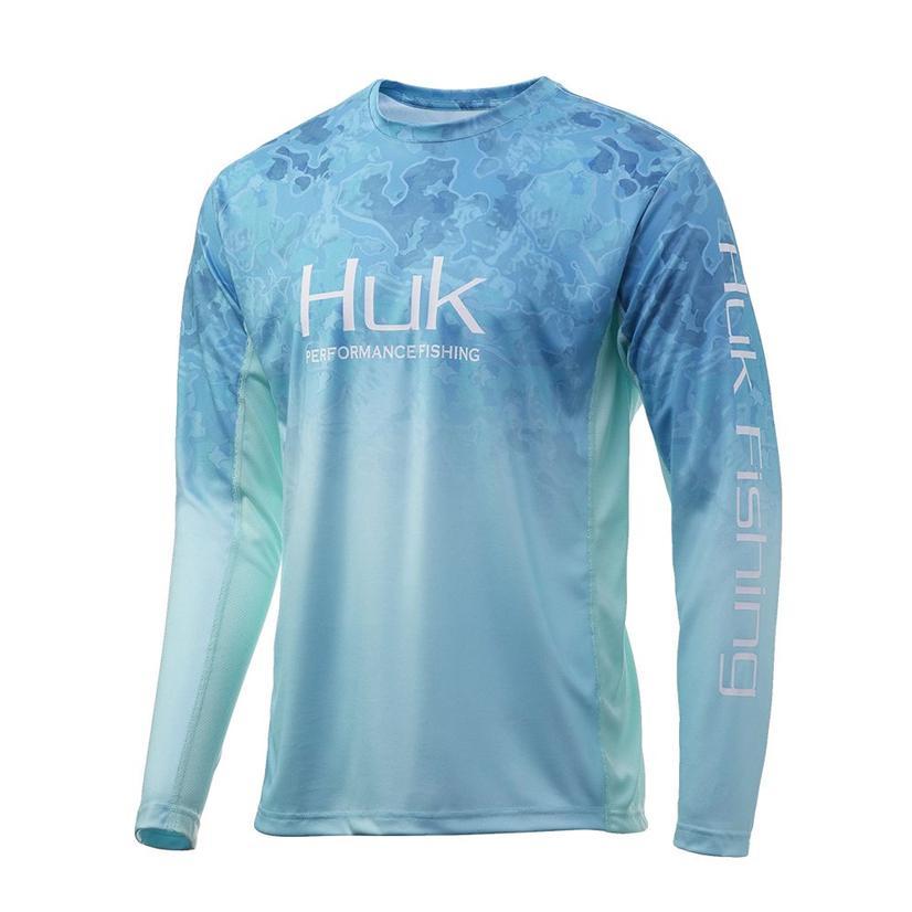 Huk Icon X Camo Boca Grande Blue Green Long Sleeve Men's Shirt