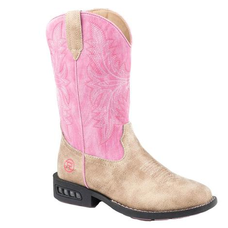 Roper Tan Pink Light Up Kid Boots - Toddler