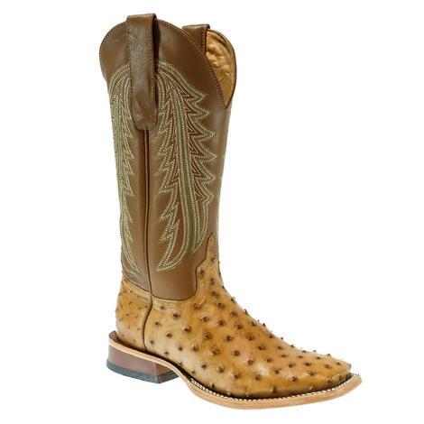 STT Brown Umber Full Quill Ostrich Umber Santos Men's Boots