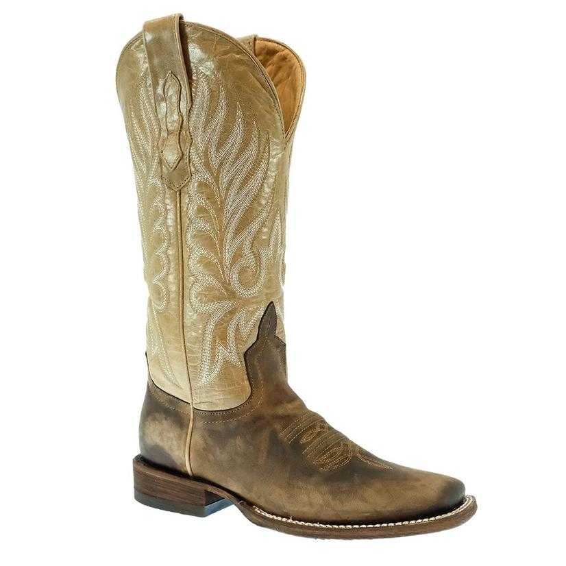Stt Brown Calf Sand Top Square Toe Women's Boots