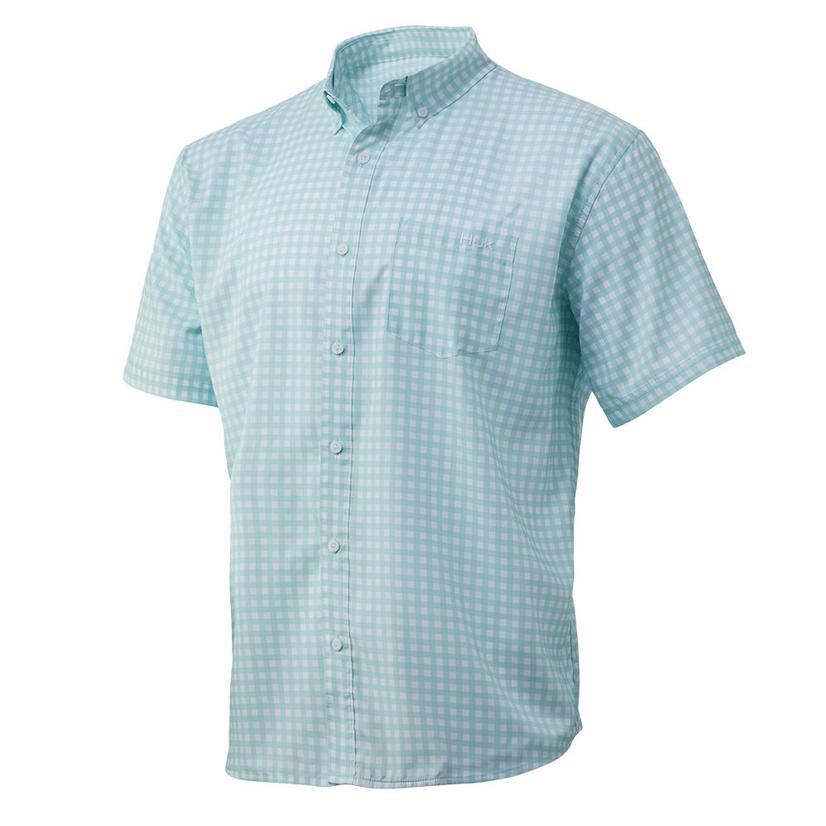 Huk Teaser Seafoam Gingham Short Sleeve Buttondown Men's Shirt