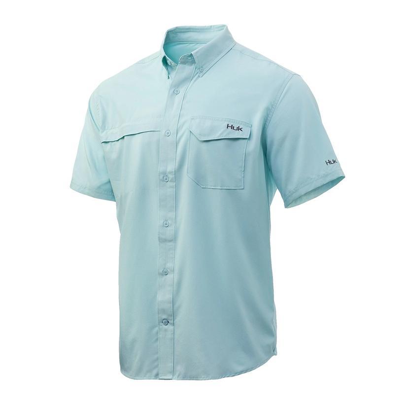 Huk Tidepoint Seafoam Solid Short Sleeve Buttondown Men's Shirt