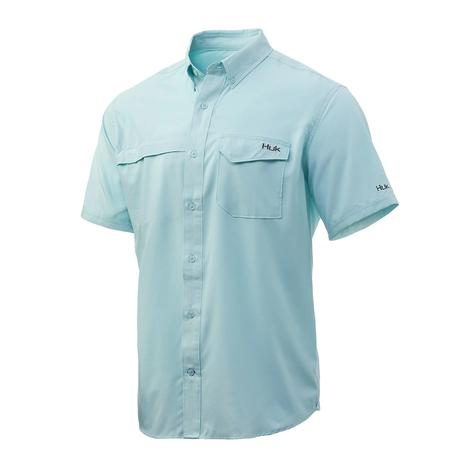 HUK Tidepoint Seafoam Solid Short Sleeve Buttondown Men's Shirt