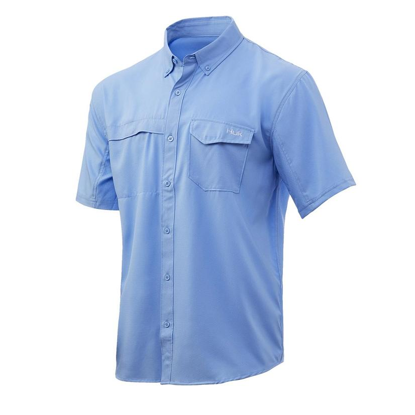 Huk Tide Point Solid Carolina Blue Short Sleeve Buttondown Men's Shirt