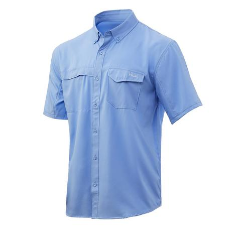 HUK Tide Point Solid Carolina Blue Short Sleeve Buttondown Men's Shirt