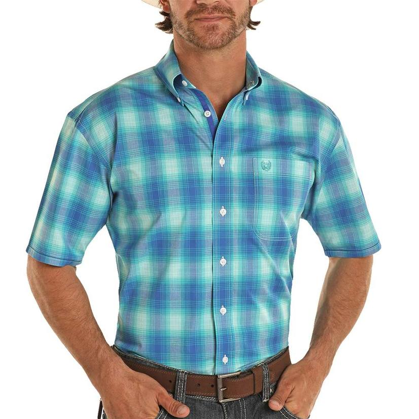 Panhandle Blue Plaid Short Sleeve Buttondown Men's Shirt
