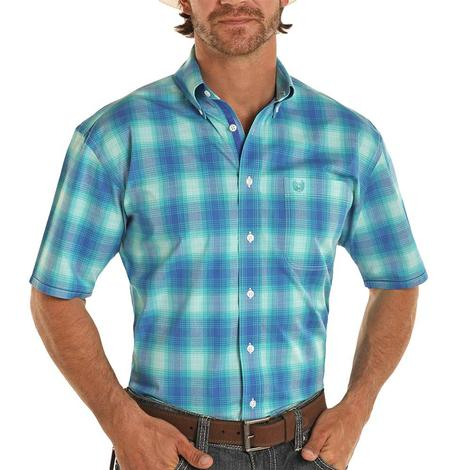 Panhandle Blue Plaid Short Sleeve Buttondown Men's Shirt