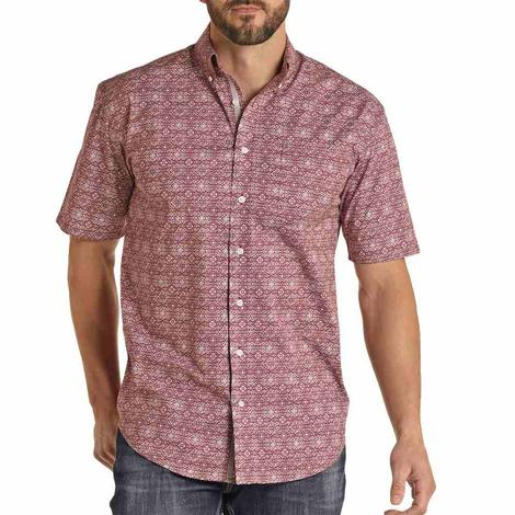 Panhandle Wine Print Short Sleeve Buttondown Men's Shirt