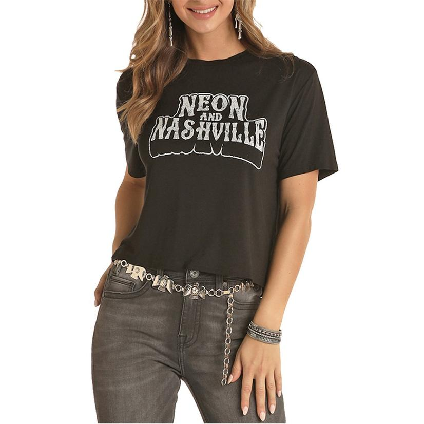 Rock And Roll Cowgirl Black Neon And Nashville Women's Graphic Tee