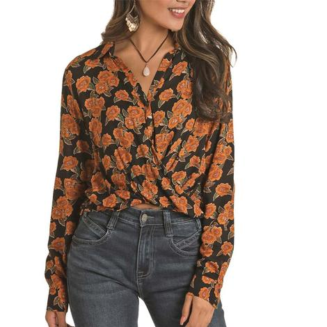 Rock and Roll Cowgirl Floral Printed Twist Front Women's Blouse